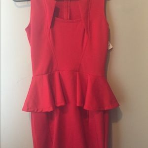 Classic red Bodycon peplum party cocktail dress L